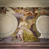 Representation of the virtue of patience. Painting. Depiction of the virtue of patience. Fresco royalty free stock photos