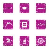 Representation on the water icons set, grunge style. Representation on the water icons set. Grunge set of 9 representation on the water vector icons for web royalty free illustration