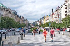 Representative architecture of Wenceslas Square in Prague stock images