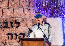 A representative from the army gives a speech in honor of those who died at the ceremony in the Memorial Site To the Fallen in Isr. Nahariyya, Israel, April 17 royalty free stock photos