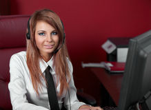 Representative call center woman with headset. Stock Photography