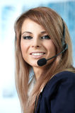 Representative call center woman with headset. Beautiful representative smiling call center woman with headset Royalty Free Stock Photos
