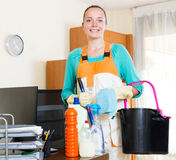 Representative of a cleaning company Stock Images