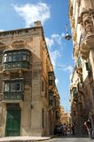 Representative, traditional architecture of Old Town of Valletta, Malta royalty free stock photo