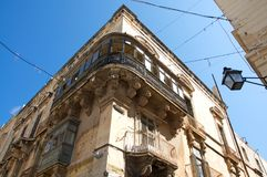 Representative example of traditional architecture in Valletta, Malta stock image