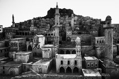 Representative model old city of Mardin rock houses and castle. Stock Photo