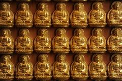 Ten thousand buddhist sculpture wall. Golden buddhist sculpture on wooden wall at wat leng loei yee, Nontaburi Stock Photography