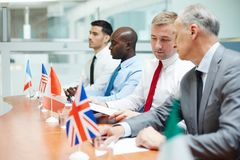 Leaders consulting. Representatives of european countries taking part in political forum of leaders Stock Photo