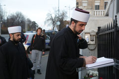 Representatives of the Islamic community in Belgrade Pay tribute to the victims in Paris Stock Photo