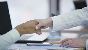 Representatives of two companies making a deal and shaking hands, agreement. Stock footage stock footage