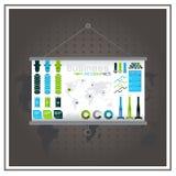 Represente el vector plano infographic del negocio gráficamente de dinero de la moneda del mapa Fotografía de archivo libre de regalías