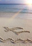 Represente em gaivotas de voo da areia dois Foto de Stock Royalty Free