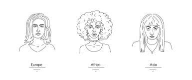 Representetives fêmeas das nações diferentes, illustraton gráfico das mulheres de várias nacionalidades ilustração stock
