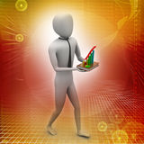 Representing business growth. 3d man holding a rising arrow, representing business growth Stock Images