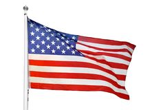 Representing the United States. Shot of the flag of the United States of America blowing in the wind royalty free stock photos