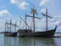 Reprodução histórica Columbus Sailing Ships 3 imagem de stock royalty free
