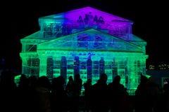 Reproducción de la escultura de hielo del edificio del teatro de Bolshoi Imagen de archivo libre de regalías