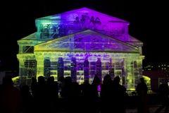 Reproducción de la escultura de hielo del edificio del teatro de Bolshoi Fotos de archivo