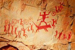 Reproducciones humanas prehistóricas del fresco Imagen de archivo libre de regalías