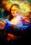 Reproductie van schilderend Mona Lisa door Leonardo da Vinci in kosmische ruimte stock fotografie