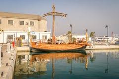 Reproduction antique de bateau - liberté de Kyrenia, Chypre Image libre de droits