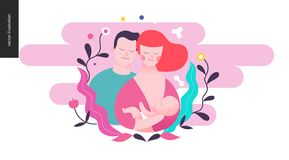 Reproduction - a breeding woman, baby and a man. On the pink background Royalty Free Stock Photos