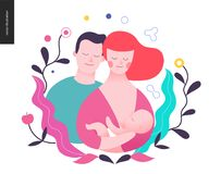 Reproduction - a breeding woman, baby and a man. Surrounded by plants Stock Photography