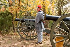 Reproduction civil war cannon 6. Civil war reproduction cannons made in warsaw missouri and the Reenact-or Royalty Free Stock Images