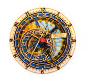 Reproduction clock in Prague. Wood reproduction of clock in Prague on white background royalty free stock image