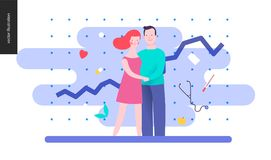Reproduction - a couple planning a baby. On the blue background, plot and medicine elements Stock Photography