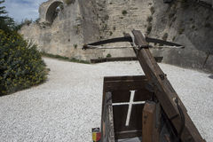 Reproduction of a crossbow in Les Baux-de-Provence, France Royalty Free Stock Photography