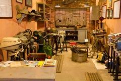Reproduction of engine repairman workshop. From The Rahmi M. Koc Museum on February 11, 2012 Istanbul, Turkey royalty free stock photos
