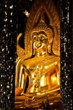 Reproduction of Famous Golden Buddha Statue in Mirror Hall. Reproduction of Phra Phuttha Chinnarath statue at Tha Sung temple in Uthai Thani province Royalty Free Stock Images