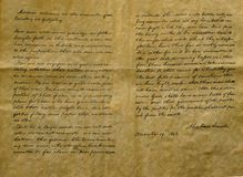 Reproduction of Gettysburg Address. Reproduction or facsimile of Gettysburg Address on simulated parchment Royalty Free Stock Photography