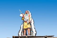Reproduction of great Indian chief in traditional clothes royalty free stock image