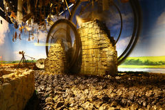 Reproduction of old agricultural wheels in Expo 2015 Royalty Free Stock Photos