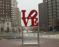 Reproduction of Robert Indiana`s Love sculpture in John F. Kennedy Plaza, Center City, Philadelphia. Pictured is a reproduction of Robert Indiana`s Love Stock Image
