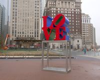 Reproduction of Robert Indiana`s Love sculpture in John F. Kennedy Plaza, Center City, Philadelphia. Pictured is a reproduction of Robert Indiana`s Love Royalty Free Stock Image