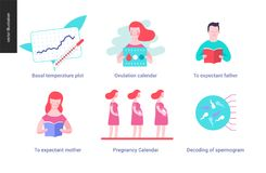 Reproduction - set of illustrated icons. On pregnancy and fertility Royalty Free Stock Photo