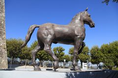 Reproduction of the statue of the horse of Leonardo da Vinci located in Montepulciano, Tuscany, Italy. MONTEPULCIANO, ITALY - JULY 19, 2017: Reproduction of the stock photos