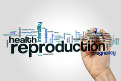 Reproduction word cloud. Concept on grey background stock photography
