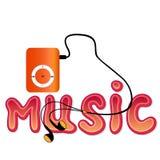 Reproductor Mp3 anaranjado real con los auriculares y la palabra 'MÚSICA' aislada stock de ilustración