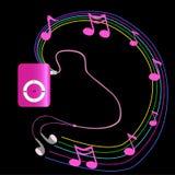 Reproductor Mp3 rosado real con los auriculares en fondo negro Vecto libre illustration