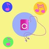 Reproductor Mp3 rosado real con los auriculares Vector ilustración del vector