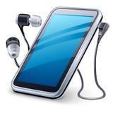 Reproductor multimedia y auriculares personales Imágenes de archivo libres de regalías