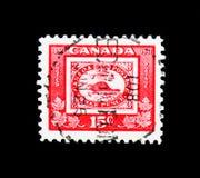 Reprodukcja trzy centów znaczek 1851, kanadyjczyk Stemplowy Centen zdjęcia stock