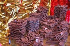 reprodukcja w dojnej czekoladzie, śrubuje i czmycha czekoladowy cand obrazy stock