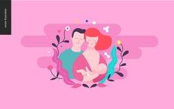 Reproduktion - en avelkvinna, behandla som ett barn och en man vektor illustrationer