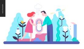 Reproduktion - en familj med en behandla som ett barn stock illustrationer