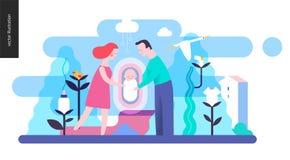 Reproduktion - en familj med en behandla som ett barn vektor illustrationer